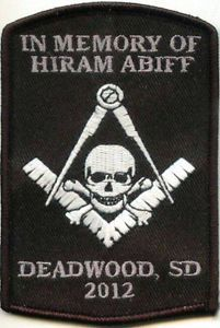 Sturgis Deadwood 2012 Masonic Biker Patch in Memory of Hiram Abiff Limited
