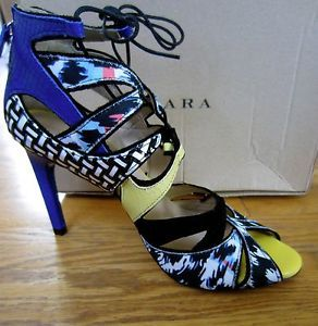 Zara New Collection 2013 Multicolored Lace Up Sandal Shoe Heel 6 5 Bloggers New