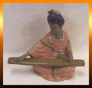 "Japanese Geisha Girl Playing Koto Musical Instrument Ceramic 7"" Figure Statue"