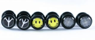 16g Smiley Face Checkered Peace Sign Fake Cheater Ear Plugs Earrings Look 0g 8mm