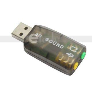 USB Sound Adapter Card External Audio 3D Virtual 3 5mm Jack Plug Play