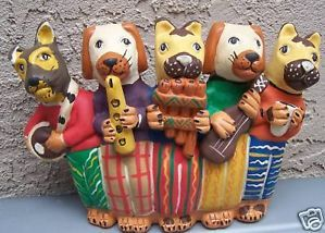 Clay Dogs Playing Musical Instruments Made in Peru