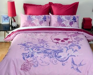 Official La Ink Pink Skull Queen Quilt DOONA Cover Set