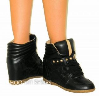 Sooo Cute Wedge Velcro Sneakers Platform Boot High Heel Ankle Tennis Bootie
