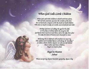 When God Calls Little Children Memory Poem Personalized