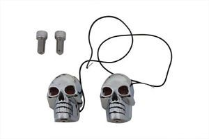 "2"" Chrome Skull Marker Light Turn Signals Bulb Style Harley Davidson Custom HD"