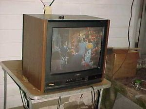 about RETRO VINTAGE SHARP TV COLOR PORTABLE 1987 LINYTRON WOOD CAB
