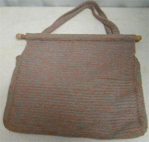 Vtg Large Handmade Crochet Multicolored Handbag or Purse with Wooden Dowels