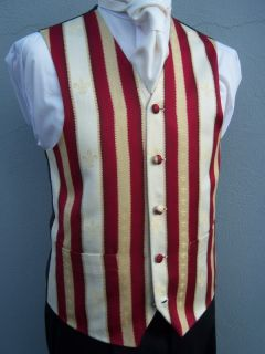 Mens Vintage Burgundy Wine Ivory Gold Stripe Wedding Dress Suit Waistcoat