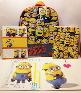 Despicable Me 2 Minion Backpack Notebooks Folders Back 2 School Supplies Set