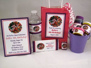 Candyland Girl Birthday Party Favor Tags Gum Water Candy Bubble Labels Wrappers