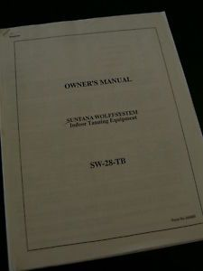 Tanning Bed Manual Suntanna Wolff System SW 28 TB Install Operating Manual VGC