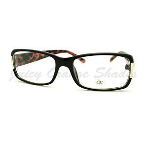 DG Eyewear Clear Lens Glasses Rectangular Designer Optical Frame Black Pink Tort
