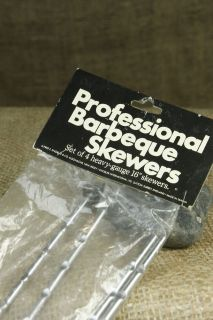"Alfred E Knobler Professional Barbeque 16"" Skewers BBQ Grill Set 4 w Grips NIP"