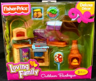 Fisher Price Loving Family Dollhouse Outdoor Barbeque BBQ Grill Set Furniture