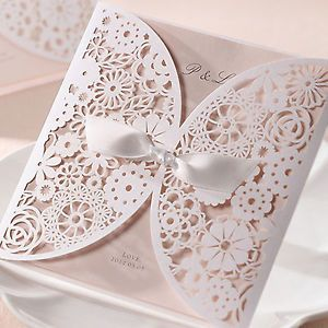 B Hands Card 100 Sets Wedding Invitation Satin Ribbon Laser BH2065 w Printing