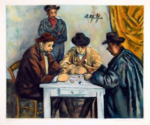 Jacques Villon Etching After Cezanne The Card Players