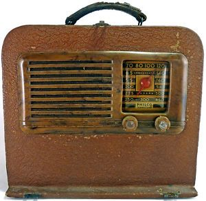 Vintage 1942 Philco Transitone Electric Portable Tube Radio Model 42 PT88 as Is