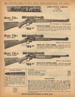 1963 Marlin Model 336 Texan Rifle Gun Print Ad