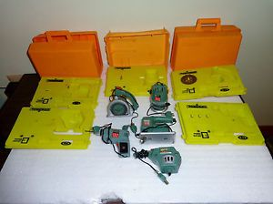 Vintage Battery Op Powermite Tool Toy Lot by Ideal 1969 Drill Router Jigsaw More