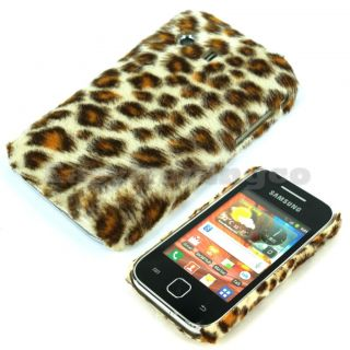 Furry Brown Leopard Case Cover Samsung S5360 Galaxt Y