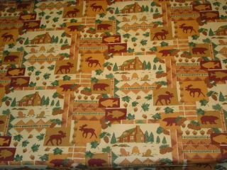 Cabin Lodge Chamois Outdoor Woods Scene Bear Deer Fish Cotton Print