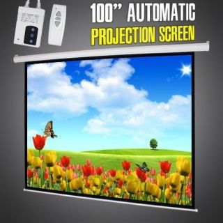 4 3 Electric Motorized Projector Projection Screen with Remote Control 100""