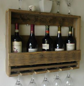 Rustic wall mount wine rack w glass holder shelf handmade from
