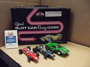 Vintage 1960's 1 32 Scale Slot Car Lot with Original Case 3 Cars 3 Remotes
