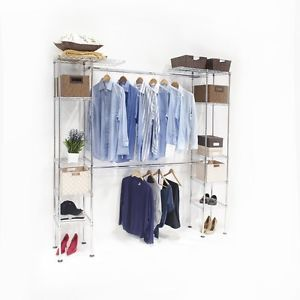 3 Shelf Storage System Clothes Organizer Garment Closet Rack Wardrobe Stand Home