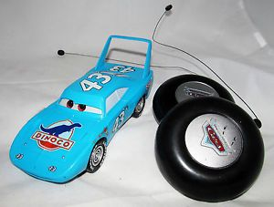 Disney Pixar Cars Blue NASCAR Race Car Dinoco Figurine Figure Toy w Remotes Lot