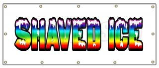 """48""""x120"""" Shaved Ice Banner Sign Hawaiian Cart Stand Signs Sno Snow Cone"""