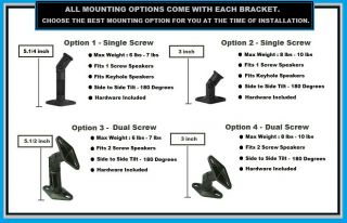 Two 2 Black Speaker Wall Mount Ceiling Bracket for Surround Sound Home Theater