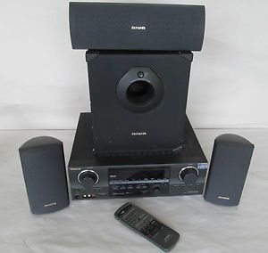 Aiwa Model AV DV75U Audio Video Stereo Receiver with Subwoofer Speakers