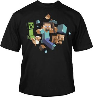 Minecraft Steve Run Away Creeper Glow in The Dark Video Game Youth T Shirt Tee