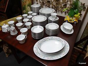 91 PC Noritake Fine China Spring Garden Set for 12 Sugar Creamer Servers