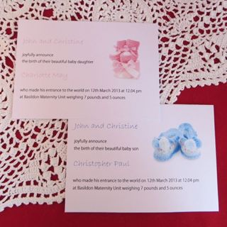 Personalised New Born Baby Birth Announcement Cards Boy Girl Card Envelopes