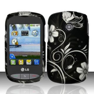 White Vines LG 800G Rubber Coating Hard Case Cover Tracfone