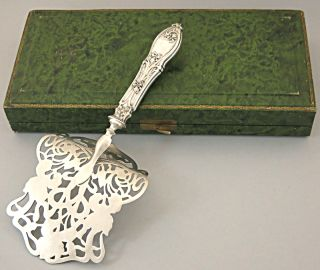 Antique French Sterling Silver Asparagus Pastry Server Art Nouveau Iris Box Case
