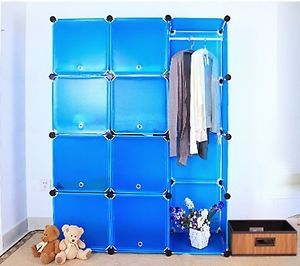 Blue DIY Plastic Shelving Unit Storage Wardrobe Closet