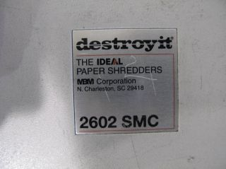 Ideal Destroy It Large Office Industrial Paper Shredder 2602 SMC