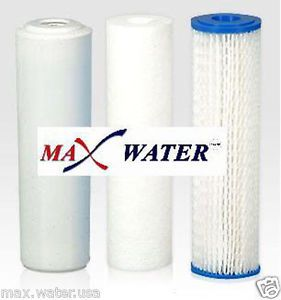 Max Water Whole House Water Filter Replacement Set Pleated Sediment GAC