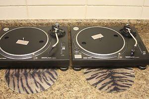 2 Technics Quartz SL 1200MK2 Direct Drive Turntables RARE Black Pair DJ High End
