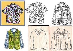 Lockhart Stamp Co Men Shirts Rubber Stamps Vest Shirt Tie Fishing Jacket Cards
