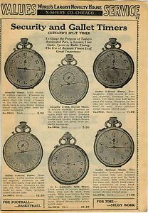 1940 Ad Guinand's Security Gallet Split Timers Dick Tracy Boy Scout Wrist Watch