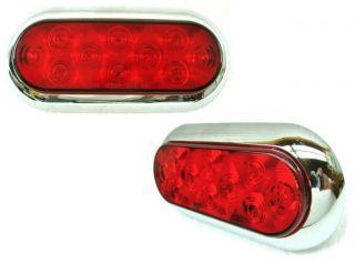 Pair Surface Mount Street Rat Rod LED Stop Turn Tail Lights Chrome Bezel In1