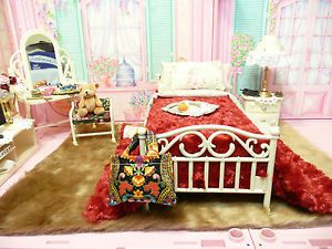 OOAK Barbie Bedroom House Furniture Diorama 1 6 Scale Lot TV Vanity Accessories