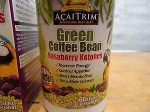 New Acaitrim Green Coffee Bean Raspberry Ketones 60 Tablets