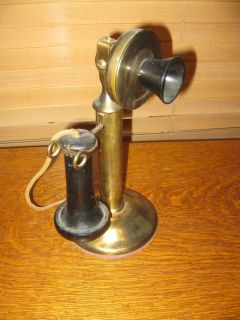 Antique Vintage Western Electric Candlestick Telephone 323BW 1913 Plated Brass