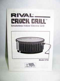 Rival Electric Indoor Crock Grill with Instruction Manual Recipe Guide